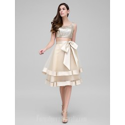 Australia Formal Dresses Cocktail Dress Party Dress Champagne A-line Scoop Short Knee-length Organza Sequined